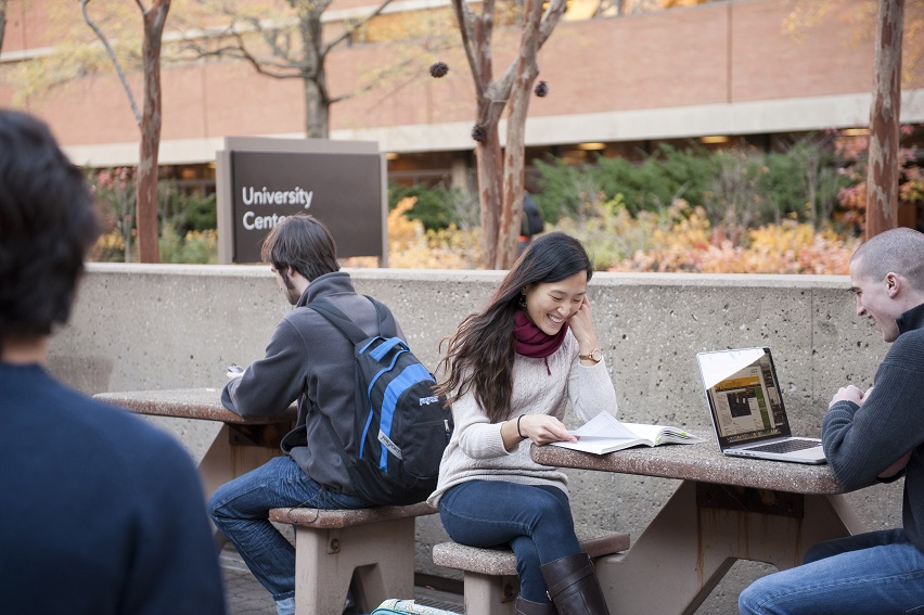 UMBC Students Outside - Online Learning