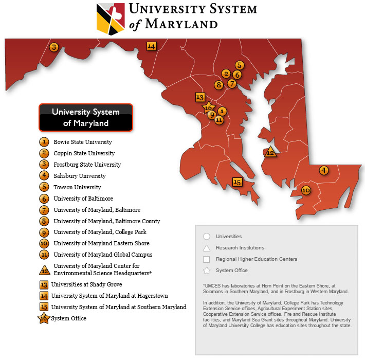 colleges in maryland map Map Of Usm Institutions Usm colleges in maryland map